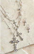 M&F Western Products® Cross Pearl Long Multi Chain Jewelry Set