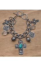 M&F Western Products® Silver Multi Cross Charm Bracelet
