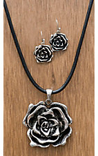 M&F Western Products® Silver Rose Necklace and Earrings Jewelry Set