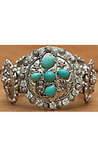 M&F Products® Silver Cross w/ Turquoise Concho Stretch Bracelet 29501