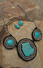 Blazin Roxx  Turquoise Stone & Beaded Necklace & Earrings Jewelry Set