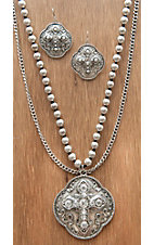 M&F Products® Silver Cross Pendant w/ Double Chain Jewelry Set 29513
