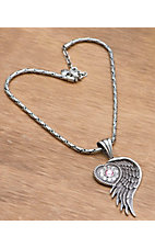 M&F Products® Silver Heart w/ Wing Pendant Necklace