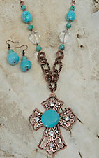 Blazin Roxx Bronze Crystal Cross with Turquoise Beads Jewelry Set