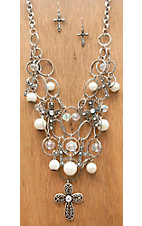 M&F Products® Silver Crosses & Rings with Pearls & Beads Jewelry Set 29535