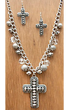 M&F Western Products® Silver w/ Hematite Beaded Cross Jewelry Set 29537