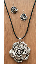 M&F Western Products® Silver Rose Pendant w/ Crystals Jewelry Set 29563