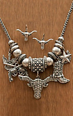 M&F Western Products® Silver Western Charms Necklace and Earrings Jewelry Set