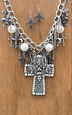 M&F Western Products® Silver Cross with Fleur de Lis and Pearls Jewelry Set