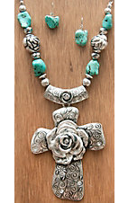 M&F Products® Silver Rose Cross w/ Turquoise Beads Jewelry Set 29569