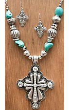 M&F Products® Silver Horse Concho Jewelry Set 29521M&F Products® Silver Cross w Crystals & Turquoise Beads Jewelry Set 29575