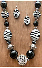 M&F Products® Disco Chunky Crystal w/ Zebra Beads Jewelry Set 29579
