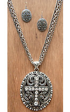 M&F Products® Silver Cross Pendant w/ Crystals Jewelry Set 29583