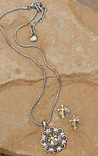 M&F Western Products Silver Concho with Gold Cross & Crystals Necklace and Earrings Jewelry Set 29609