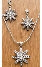 M&F Western Products® Silver Spur Rowel with Crystals Necklace and Earrings Jewelry Set