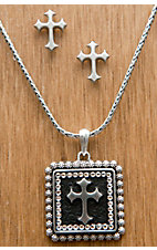 M&F Western Products® Silver Square Cross with Crystals Necklace and Earrings Jewelry Set