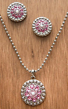 M&F Western Products® Silver w/ October Pink Stones Necklace and Earrings Jewelry Set 29635
