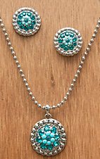 M&F Western Products® Silver w/ December Turquoise Stones Necklace and Earrings Jewelry Set 29639