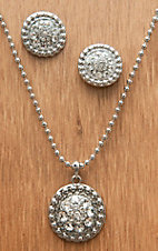 M&F Western Products® Silver w/ April Clear Stones Necklace and Earrings Jewelry Set 29641