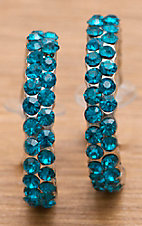 M&F Products® Turquoise Rhinestone Hoop Earrings