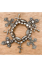 M&F Western Products® Silver with Cross Charms Stretch Bracelet