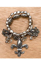 M&F Western Products® Silver with Fleur de Lis Charms Stretch Bracelet