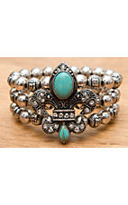 M&F® Antiqued Silver with Turquoise Fleur de Lis 3 Strand Beaded Elastic Bracelet
