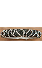 M&F Products® Silver with Black and Clear Crystals Zebra Bangle Bracelet