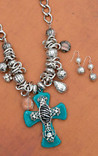 Blazin Roxx Women's Turquoise & Zebra Cross with Silver Charms Jewelry Set