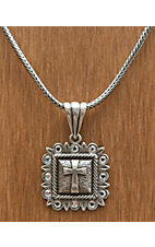 M&F Western Products® Silver Square Pendant with Cross and Crystals Necklace