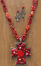 M&F Products® Red Stone Strand & Cross Pendant Jewelry Set