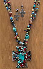 M&F Products® Multi-Colored Stone Strand & Cross Pendant Jewelry Set
