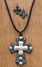 M&F Western Products® Braided Leather Turquoise Cross Jewelry Set