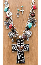 M&F Products® Cross w/ Heart Pendant & Charms Jewelry Set
