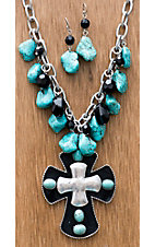M&F Products® Black Cross w/ Silver & Turquoise Jewelry Set