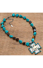 M&F Products® Turquoise & Brown Stone w/ Bronc Rider Necklace