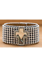M&F Western Products® Clear Crystal Leather Snap Cross Bracelet