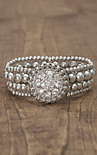 Lighting Ridge® Silver Beads w/ Rhinestone Concho Stretch Bracelet