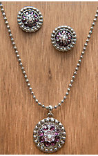 M&F Western Products® Silver w/ February Purple Stones Necklace and Earrings Jewelry Set 29965