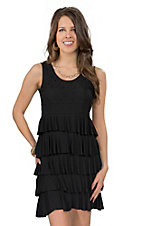 Color FX® Women's Black Jersey Knit with Lace and Ruffles Sleeveless Dress