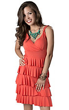 Color FX® Women's Coral Ruffles with V-Neck Sleeveless Jersey Knit Dress