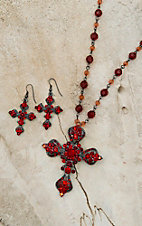 Blazin Roxx Women's Red Crystal Cross Necklace & Earrings Set 3030804