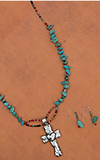 Blazin Roxx Women's Silver Cross with Turquoise Stones Necklace & Earrings Set 30354