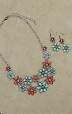 Blazin Roxx Red & Green Daisy Necklace and Earrings Jewelry Set