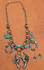 Blazin Roxx Silver Winged Pistols Pendant with Turquoise Jewelry Set 30476