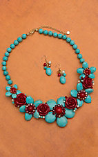 Blazin Roxx Turquoise Stone Flower with Red Flowers Jewelry Set 30496
