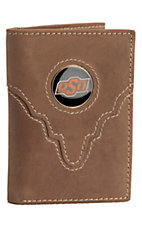 Danbury® Collegiate Collection™ Oklahoma State University Brown Tri-fold Wallet
