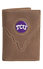 Danbury® Collegiate Collection™ TCU Brown Tri-fold Wallet