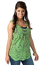 Karlie® Women's Green Lace with Embroidery Sleeveless Fashion Tank Top
