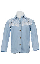 09 Apparel® Girls Lice Blue with White Fringe and Lace Long Sleeve Western Shirt